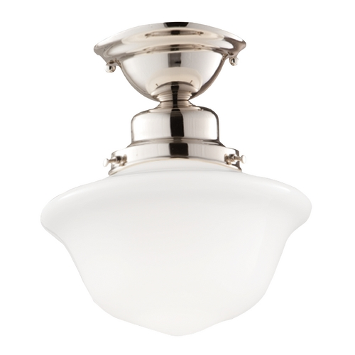 Hudson Valley Lighting Semi-Flushmount Light with White Glass in Polished Nickel Finish 1609F-PN