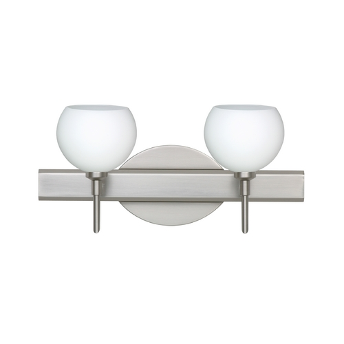 Besa Lighting Modern Bathroom Light with White Glass in Satin Nickel Finish 2SW-565807-SN