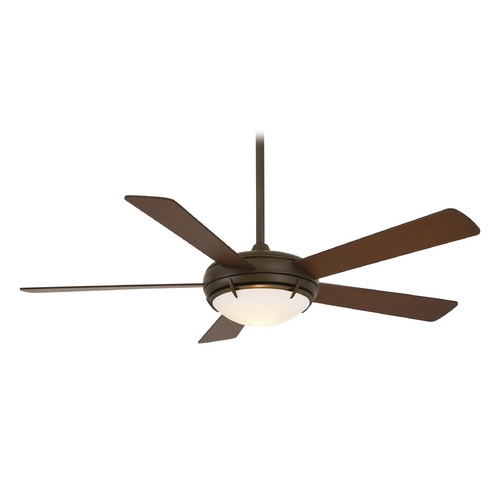 Minka Aire Modern Ceiling Fan with Light with White Glass in Oil Rubbed Bronze Finish F603-ORB