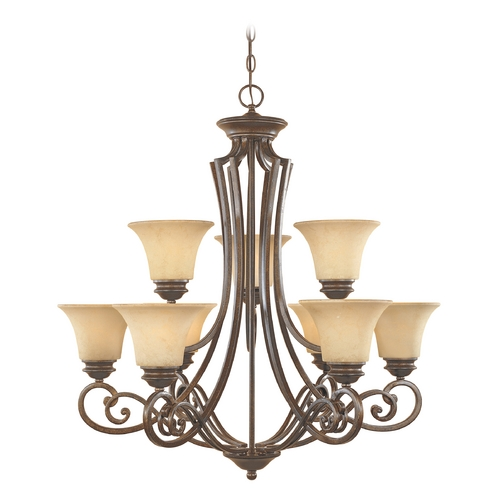 Designers Fountain Lighting Chandelier with Amber Glass in Forged Sienna Finish 81889-FSN