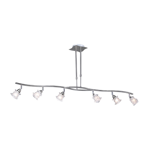 PLC Lighting Modern Pendant Light with White Glass in Satin Nickel Finish 6073 SN