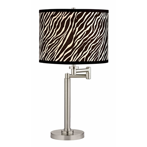Design Classics Lighting Swing Arm Table Lamp with Zebra print Lamp Shade 1902-09 SH9485