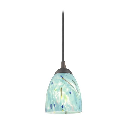 Design Classics Lighting Bronze Mini-Pendant Light with Turquoise Art Glass 582-220 GL1021MB