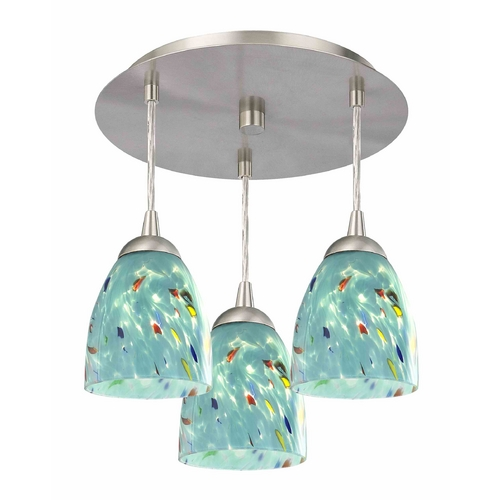 Design Classics Lighting 3-Light Semi-Flush Light with Turquoise Art Glass - Nickel Finish 579-09 GL1021MB