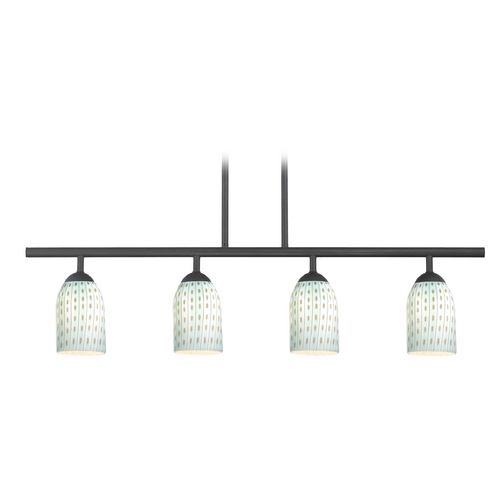 Design Classics Lighting Modern Island Light in Matte Black Finish 718-07 GL1003D