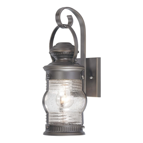 Minka Lavery Outdoor Wall Light with Clear Glass in Oil Rubbed Bronze W / Gold Highlights Finish 72232-143C