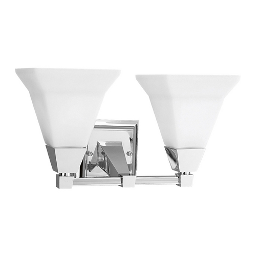 Progress Lighting Progress Bathroom Light with White Glass in Chrome Finish P3136-15