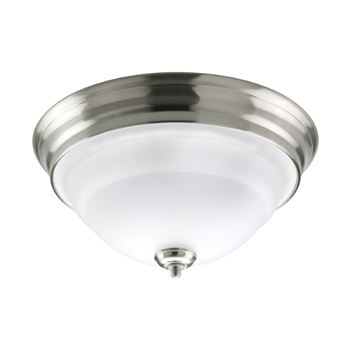 Progress Lighting Progress Flushmount Light with White Glass in Brushed Nickel Finish P3184-09