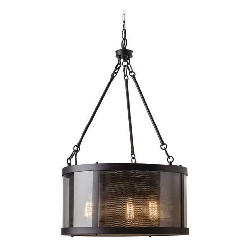 Feiss Lighting Feiss Lighting Bluffton Oil Rubbed Bronze Pendant Light with Drum Shade F2929/3ORB