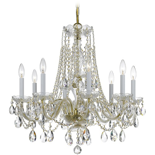 Crystorama Lighting Crystorama Lighting Traditional Crystal Polished Brass Chandelier 1138-PB-CL-S