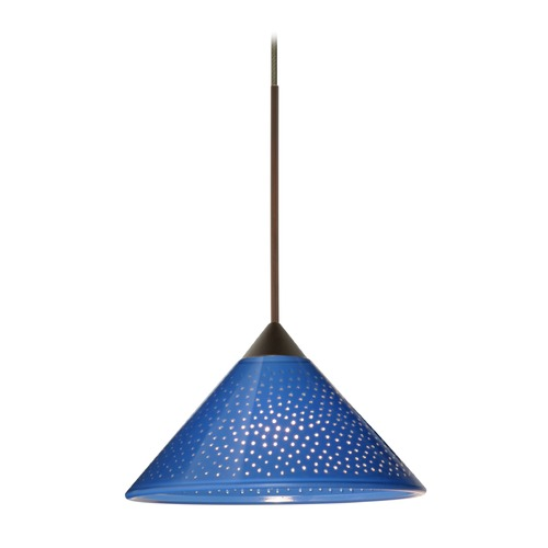 Besa Lighting Besa Lighting Kona Bronze LED Mini-Pendant Light with Conical Shade 1XT-282484-LED-BR
