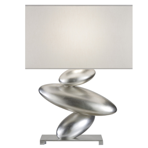 Fine Art Lamps Fine Art Lamps Recollections Platinized Silver Leaf Table Lamp with Oval Shade 829810ST