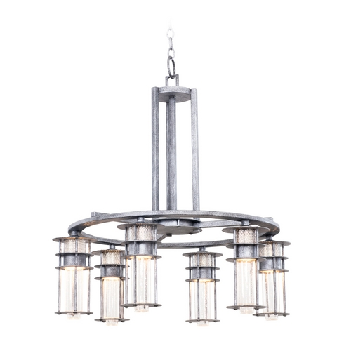 Kalco Lighting Seeded Glass Chandelier Iron Kalco Lighting 7297RI