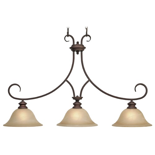 Golden Lighting Golden Lighting Lancaster Rubbed Bronze Island Light with Bell Shade 6005-10 RBZ