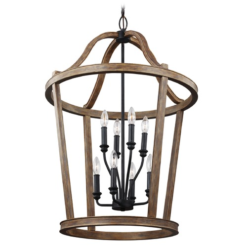Feiss Lighting Feiss Lighting Lorenz Weathered Oak Wood / Dark Weathered Zinc Pendant Light F3040/8WOW