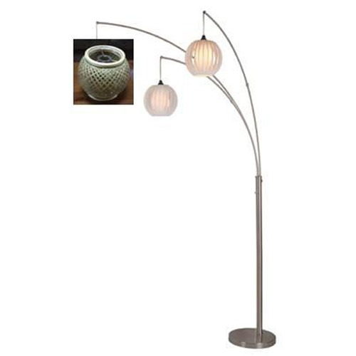 Lite Source Lighting Lite Source Evangeline Polished Steel Arc Lamp with Oblong Shade LS-82773