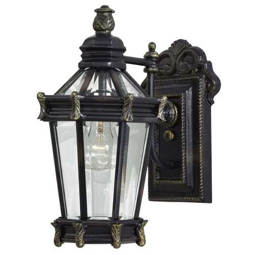 Minka Lavery Outdoor Wall Light with Clear Glass in Heritage W/gold Highlights Finish 8937-95