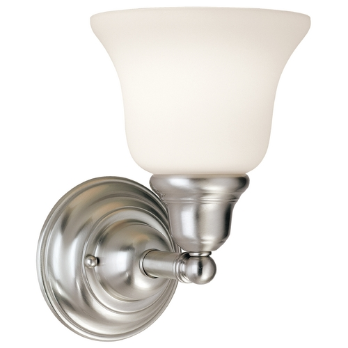 Dolan Designs Lighting Sconce with White Glass in Satin Nickel Finish 491-09