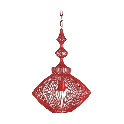 Currey and Company Lighting Modern Red Pendant Light with Wire Frame 9068