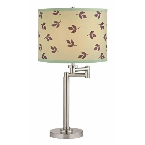 Design Classics Lighting Swing Arm Table Lamp with Leaf Patterned Lamp Shade 1902-09 SH9488