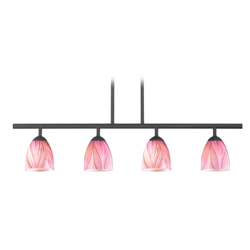 Design Classics Lighting Modern Island Light with Pink Glass in Matte Black Finish 718-07 GL1004MB
