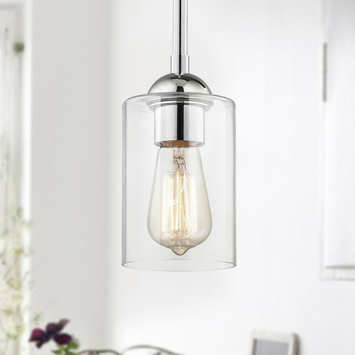 Design Classics Lighting Chrome Mini-Pendant Light with Cylindrical Shade 581-26 GL1040C