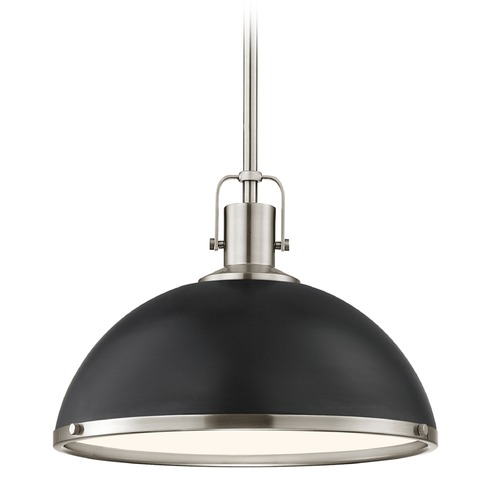 Design Classics Lighting Nautical Pendant Light Black and Satin Nickel 13.38-Inch Wide 1762-09 SH1776-07 R1776-09