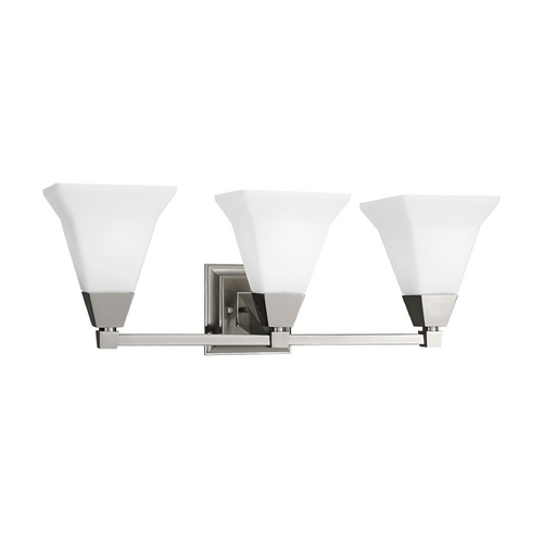 Progress Lighting Progress Bathroom Light with White Glass in Brushed Nickel Finish P3137-09