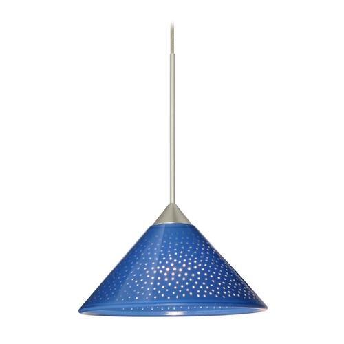 Besa Lighting Besa Lighting Kona Satin Nickel LED Mini-Pendant Light with Conical Shade 1XT-282484-LED-SN