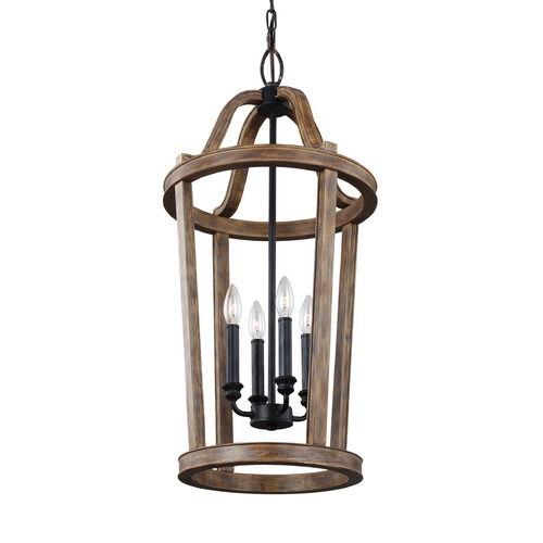 Feiss Lighting Feiss Lighting Lorenz Weathered Oak Wood / Dark Weathered Zinc Pendant Light F3031/4WOW