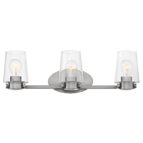 Hinkley Hinkley Branson 3-Light Brushed Nickel Bathroom Light with Clear Glass 5403BN
