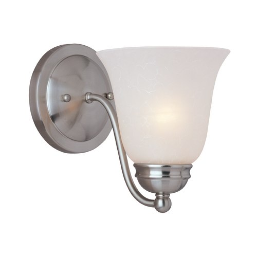 Maxim Lighting Modern Sconce Wall Light with White Glass in Satin Nickel Finish 2120ICSN