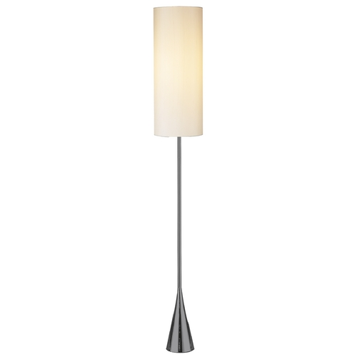 Adesso Home Lighting Modern Floor Lamp with White Shade in Black Nickel Finish 4029-01
