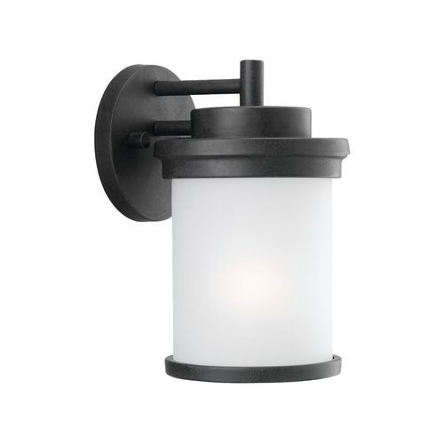 Sea Gull Lighting Modern Outdoor Wall Light with White Glass in Forged Iron Finish 88660-185