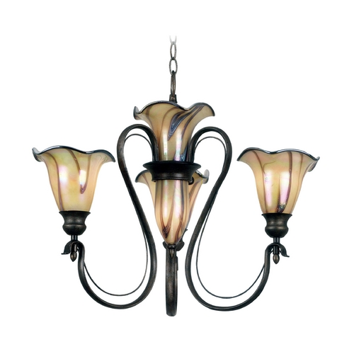 Kenroy Home Lighting Chandelier with Art Glass in Tuscan Silver Finish 90895TS
