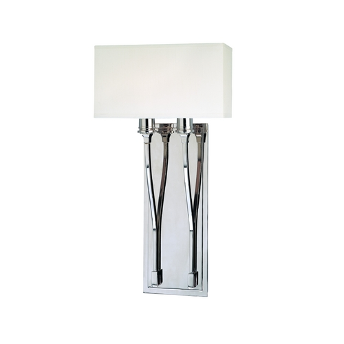 Hudson Valley Lighting Modern Sconce Wall Light with White Shades in Polished Nickel Finish 642-PN