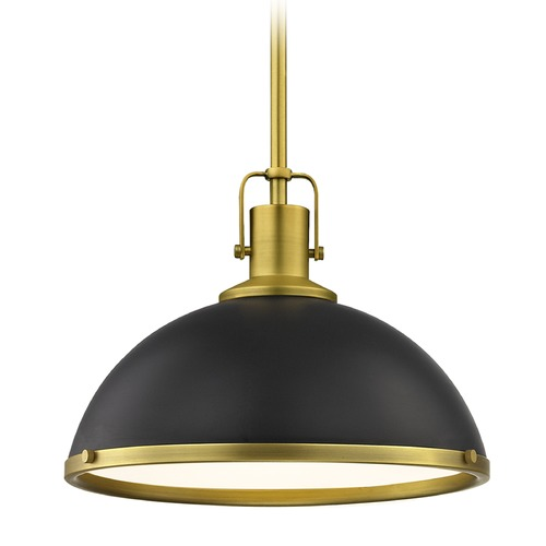 Design Classics Lighting Black Pendant Light with Brass 13.38-Inch Wide 1762-12 SH1776-07 R1776-12