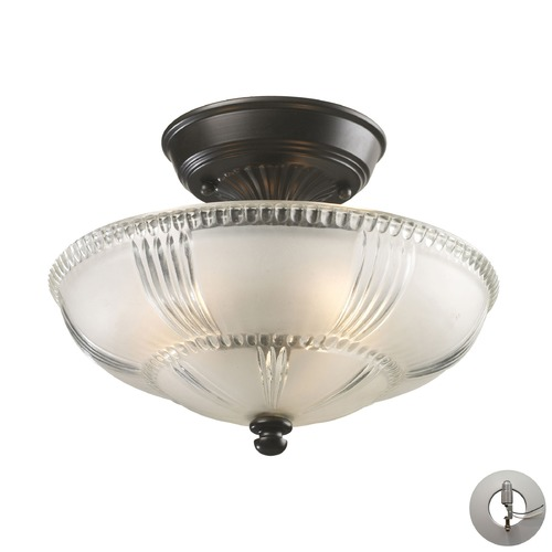Elk Lighting Restoration Flushes Oiled Bronze Semi-Flushmount Light - Includes Recessed Adapter Kit 66335-3-LA