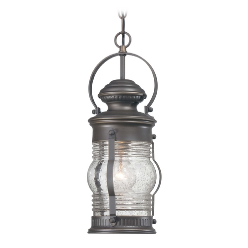 Minka Lavery Outdoor Hanging Light with Clear Glass in Oil Rubbed Bronze W / Gold Highlights Finish 72234-143C