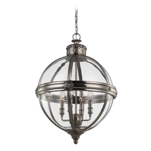 Feiss Lighting Feiss Lighting Adams Antique Nickel Pendant Light with Globe Shade F2931/4ANL