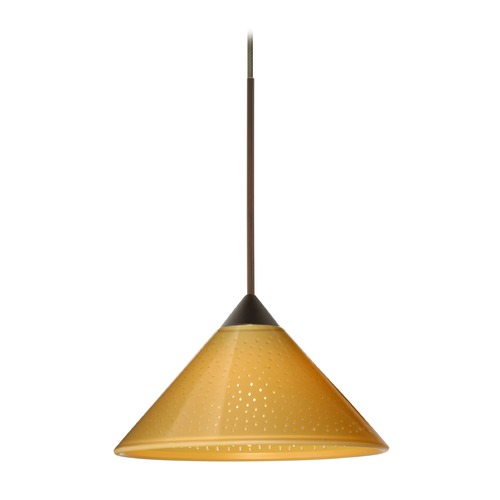 Besa Lighting Besa Lighting Kona Bronze LED Mini-Pendant Light with Conical Shade 1XT-282490-LED-BR