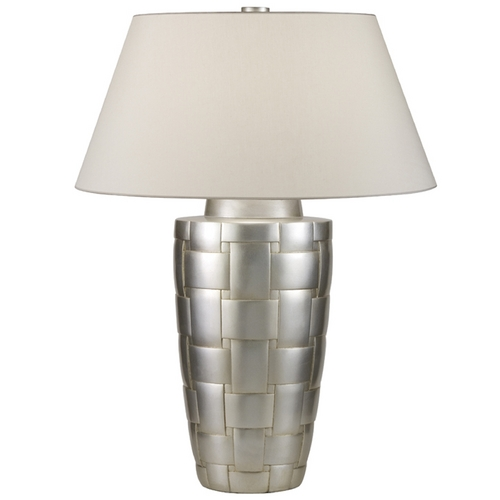 Fine Art Lamps Fine Art Lamps Recollections Platinized Silver Leaf Table Lamp with Empire Shade 830010ST