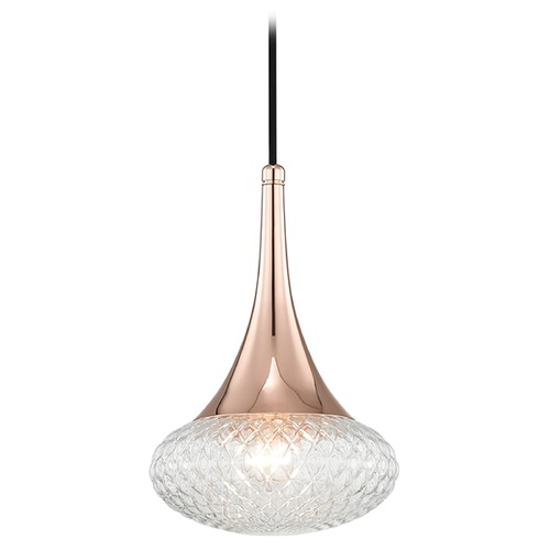 Hudson Valley Lighting Mid-Century Modern Pendant Light Copper Mitzi Bella by Hudson Valley Lighting H114701C-POC