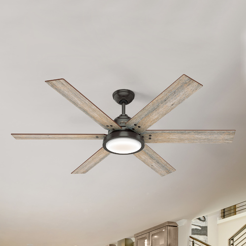 Hunter Fan Company Hunter 60-Inch Noble Bronze LED Ceiling Fan with Light and Wall Control 59461