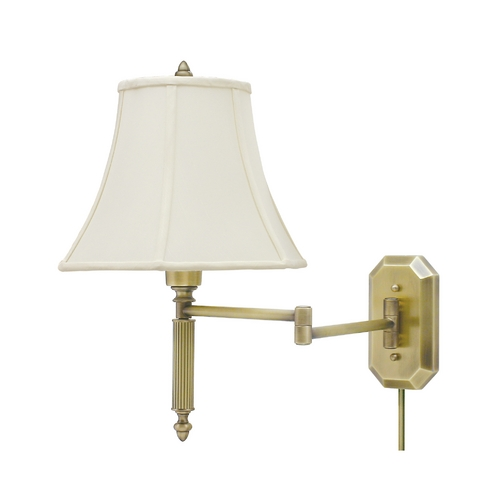 House of Troy Lighting Swing Arm Lamp with White Shade in Antique Brass Finish WS-706-AB