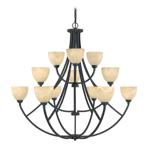 Designers Fountain Lighting Chandelier with Alabaster Glass in Burnished Bronze Finish 829812-BNB