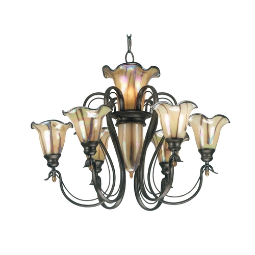Kenroy Home Lighting Chandelier with Art Glass in Tuscan Silver Finish 90896TS