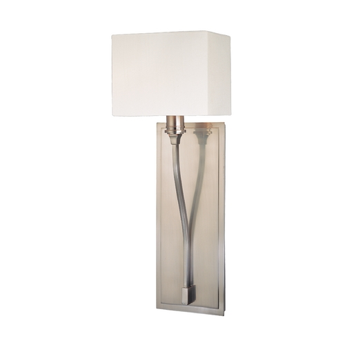 Hudson Valley Lighting Modern Sconce Wall Light with White Shade in Satin Nickel Finish 641-SN