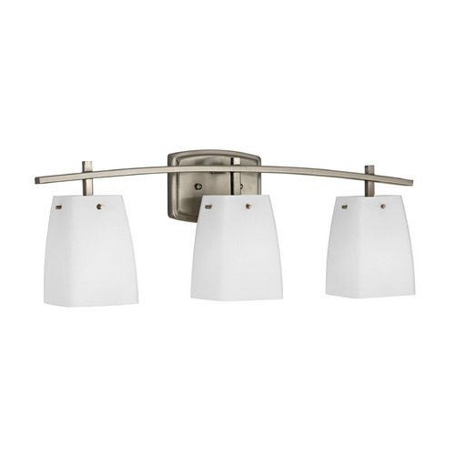 Design Classics Lighting Satin Nickel Bathroom Wall Light with White Square Glass 9443-09