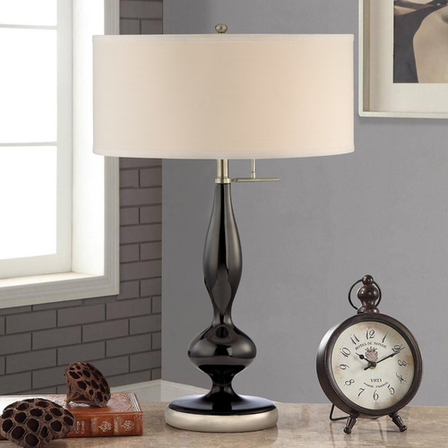 Design Classics Lighting Modern Drum Three-Way Table Lamp in Black Finish and White Shade DCL M6045-661/09 / SH7495